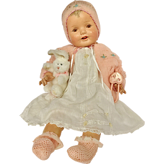 """1930's Darling Huge 27"""" Big Happy Chubby Composition Smiling Baby Girl Doll"""