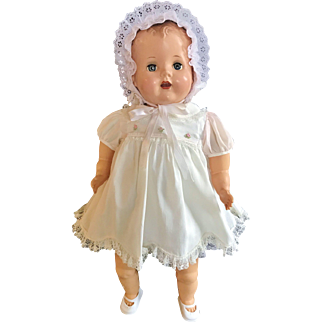 """Incredible 1940's RARE Schilling Talking Baby Doll 22"""" HP & Vinyl automation sound she works"""