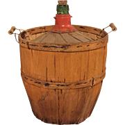 Antique French Rustic Wood-Wrapped Big 16L Green Viresa Demijohn Wine Jug Carboy