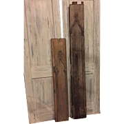 Pair of 2 Antique Wooden Church Door Panels with Keyhole & Lockbox