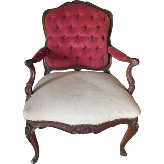 Antique 1900s Louis XV Carved Large Scale Armchair