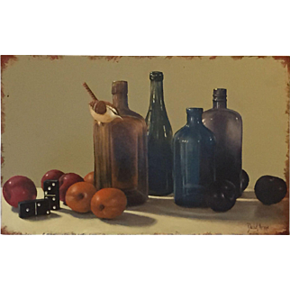 American Artist David Arms Original Still Life Painting with Bird, Fruit, Bottles, and Dominoes