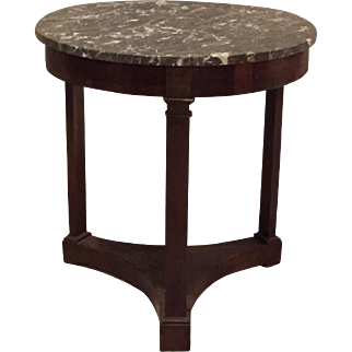 French Antique Round 3-Leg Marble Top Empire Side Table