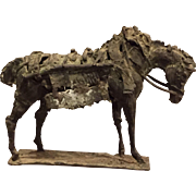 Brutalist Heavy Metal Work Horse Tabletop Sculpture
