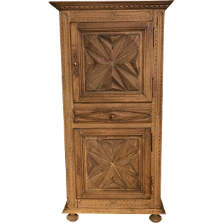 Refinished Weathered Vintage 1920s Louis XIII Geometric Carved Cabinet