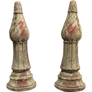 Antique Set of 2 Pawn Shaped French Green Clay Epi de Faitage Roof Finials