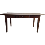 Antique French Country Provincial Cherry Farmhouse Dining Table with Drawers