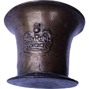 17th Century Bronze Mortar & Pestle with Royal Crown