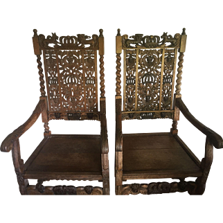 Pair of Victorian Oak Armchairs c. 1870