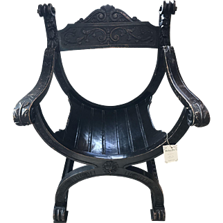 Late Victorian Gothic Revival Curule-form Chair