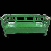 Pine European Green Bench with storage