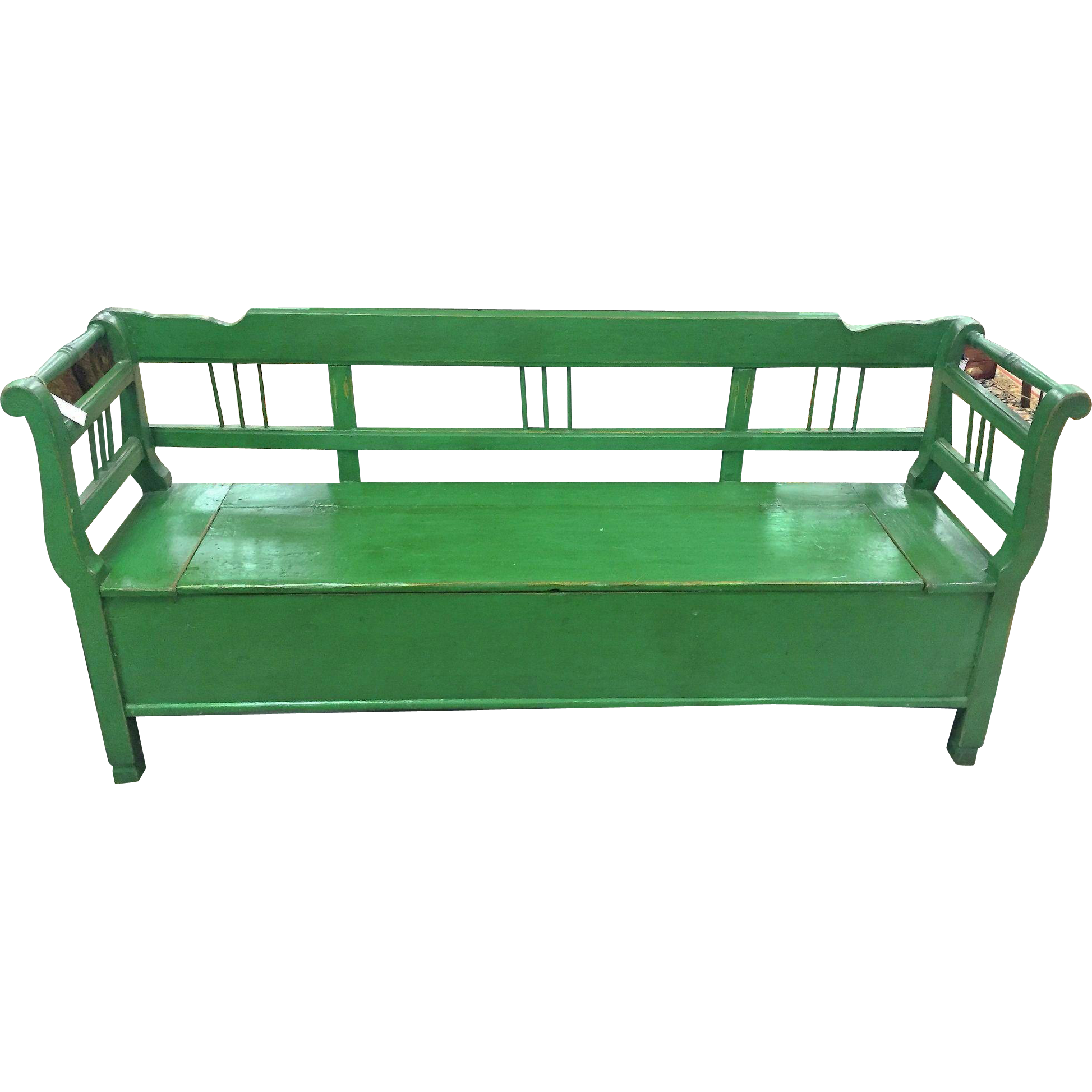 Pine European Green Bench With Storage From Hoppie On Ruby Lane