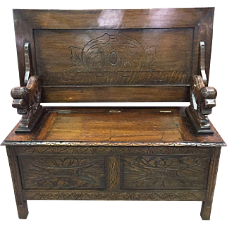 1920's/30's oak carved Monk's Bench
