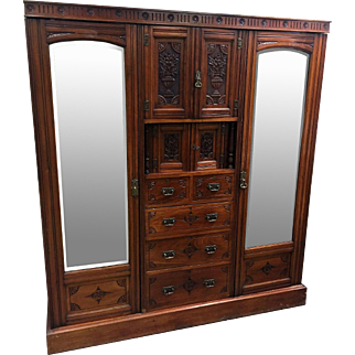 English Edwardian Era Carved Triple Wardrobe