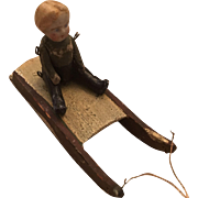 Vintage Antique Miniature Doll on Sled