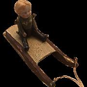 Vintage Antique Miniature Doll on Sled