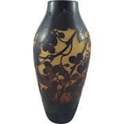D'Argental Cameo Vase Featuring Grapes, Leaves and Vines Stunning Size