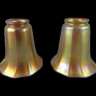Pair of Quezal Gold Iridescent Lamp Shades ca. 1901-1924 Signed