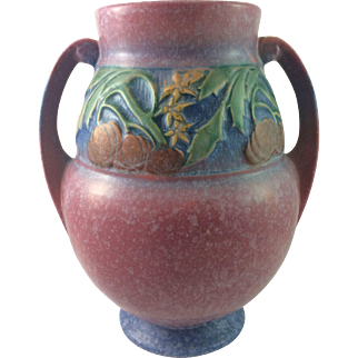 """Roseville Pottery Baneda Vase in Pink Pumpkin Patch Series 9 1/4"""" Tall ca. 1932"""