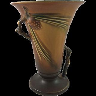 Roseville Pottery Pine Cone Brown Trumpet Vase 906-6 Mint