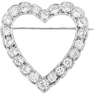 2.30 Cttw Vintage Natural Diamond Heart Pin/ Brooch & Pendant in Solid 14 karat White Gold