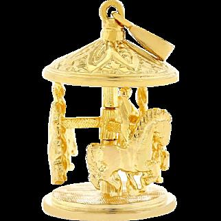 Vintage Solid 14k karat Yellow Gold Merry Go Round Charm Pendant 8.5 grams