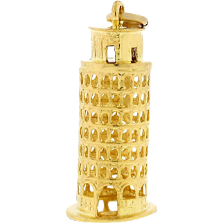 Vintage Leaning Tower Of Pisa Charm In Solid 18 karat Yellow Gold