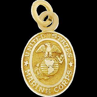 Vintage United States Marine Corps Charm Solid 10 karat Yellow Gold