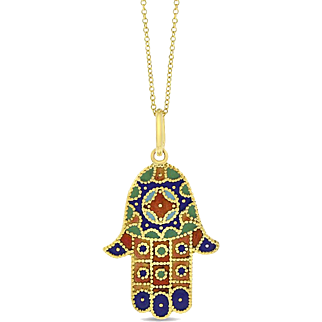 Vintage Hamsa Hand of Fatima Pendant Multi Color Enamel Solid 14 karat Yellow Gold