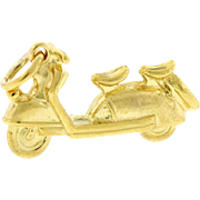Vintage Delivery Motor Scooter Charm In Solid 14 karat Yellow Gold 4.2 Grams