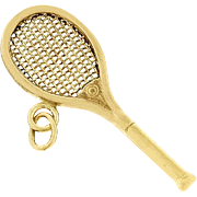 Vintage Tennis Racquet Charm In Solid 14 karat Yellow Gold