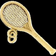 Vintage Tennis Racquet Charm In Solid 14 karat Yellow Gold