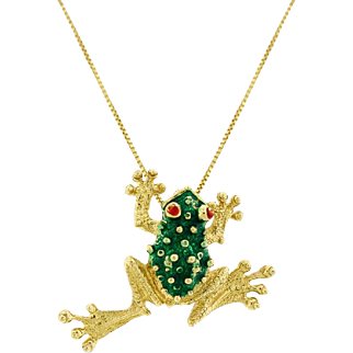 Vintage Frog Toad Pendant Green Enamel In Solid 14 karat Yellow Gold