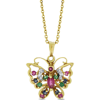 0.54 Cttw. Vintage Diamond Gemstone Butterfly Pendant 14 karat Yellow Gold
