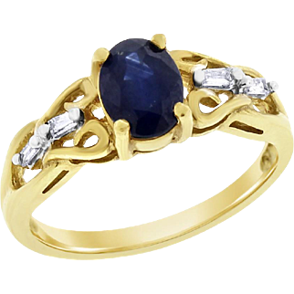 Vintage Natural Diamond & Sapphire Fancy Ring 1.17 cttw In Solid 10 karat Yellow Gold