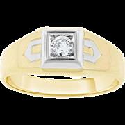 Vintage Estate Men's Euro Cut Diamond Ring Solid 14 karat Yellow Gold 0.15 Cttw.