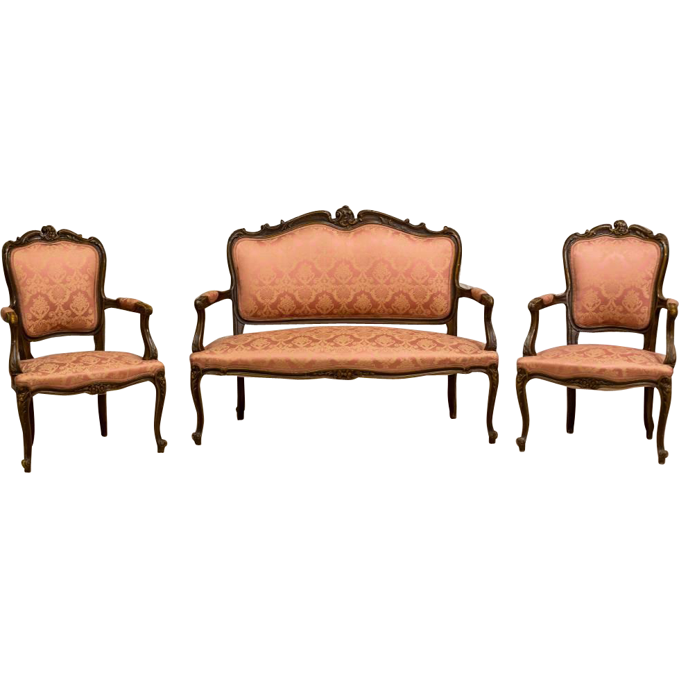 French Living Room Set In Rococo Style End Of 19th Century 3 Parts From Antique Beauty On Ruby