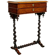 Renovated Eclectic Small Table/Sewing Table approx 1890/1900