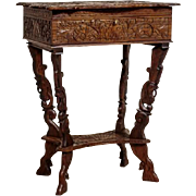 Richly Carved Sewing Table from 1890