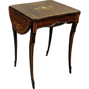 Small Folding Table with intarsia beginning of 20th Century