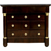 Mahogany Empire Dresser with Marble Top from 1880 - Western Europe