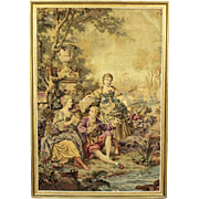 Tapestry in Frame Depicting Genre Scene - France 1930