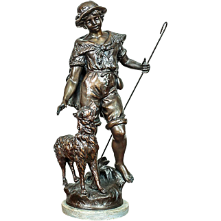 Signed Bronze Sculpture - Shepherd - approx. 1890
