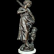 Signed Bronze Sculpture - Shepherdess - approx. 1890