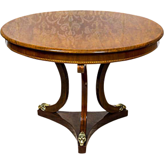 Biedermeier Round Living Room Table, ca. 1850