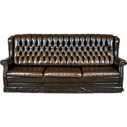 Leather, Quilted Sofa in the Chesterfield Style, 1970