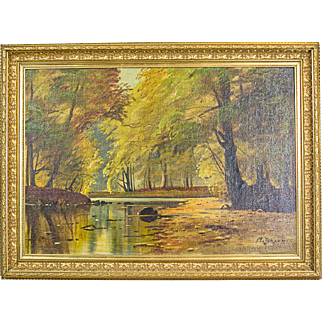 """""""Autumnal Landscape,"""" an Oil Painting Signed by  A. Johansen -- Circa 1920"""