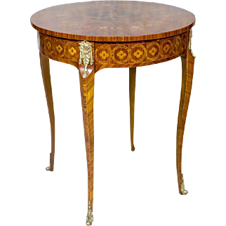 Circular, Decorative Small Table in the French Type ca. 1950