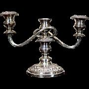 Silvered, Three-Arm Candlestick -- Circa 1910/20