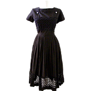 Vintage 1950s Black Eyelet Day Dress